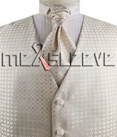 Wholesale handkerchief ascot resale online - dress waistcoat wedding man s ivory check vest waistcoat ascot tie cufflinks handkerchief