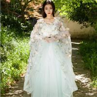 Wholesale women fairy princess gown online – ideas Hanfu Cosplay costume sexy flower fairy princess dress Korean style dance Clothing National long gown stage wear bride Fancy Dress
