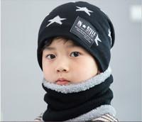 Wholesale baby hat scarf pink for sale - Group buy Cute children s winter woollen hat scarf set Korean version thickened warm knit cap baby cap