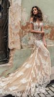 escote profundo vestido al por mayor-2020 Nuevo Champagne Julie Vino Vestidos de novia fuera del hombro Vestido de novia de encaje Escote profundo Vestidos de novia personalizados