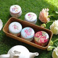 favores de fiesta contenedores al por mayor-Tambor portátil En forma de flor Té Cajas de lata Favores Suministros de decoración de fiesta Contenedor de té Latas de regalo Paquete de boda Contenedor de dulces