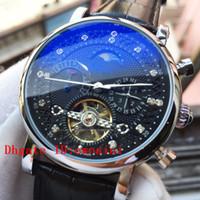 relógio mecânico moonphase venda por atacado-Relógio de luxo Top Relógios de Marca Suíça Relógio de Couro Preto Automático Mão Mecânica Enrolamento MoonPhase Assista Mens Relógio Semana Relógios Calendário