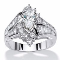 Wholesale simple gold engagement rings for women for sale - Group buy Modyle Elegant Simple Zircon Ring Marquise Cut White Sapphire Engagement Ring Wedding Ring Set for Women