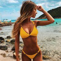 Wholesale yellow padded bikini for sale – plus size 5 Colors Bikini for Women Solid Swimwear Push Up Swimsuit Ring Biquini Strap Bikinis Pad Bathing Suit Summer Sexy Swimwears