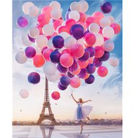 Wholesale colorful modern oil paintings for sale - Group buy DIY Frame oil Painting By Numbers girl dancing with colorful baloon by the Paris tower kits Home Decor Wall Art Modern Picture