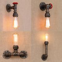 iluminação de tubos vintage venda por atacado-Steam punk Loft industrial ferro ferrugem tubulação de água retro lâmpadas de parede do vintage E27 LED sconce luzes de parede para sala de estar quarto bar
