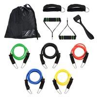 brust-expander-bands großhandel-Multifunktionale Gymnastik Widerstandsbänder Kit Fitnessbänder Workout Home Elastic Band Expander Set Pilates Yoga Gummi