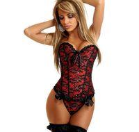 siyah kravat yelek toptan satış-Stokta Avrupa saray siyah dantel gelin iç çamaşırı düğün yelek için kırmızı pembe dantel tie up korseler straplez vücut şekillendirici pijama