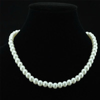 Wholesale china pearls jewellery resale online - Chic Single Strand Faux Imitation Pearl mm Pearl Bib Statement Necklace Jewellery Gift Fashion Womens Short Chain Fine Jewelry For Women