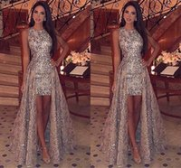 Wholesale purple sheath jewel short dress resale online - Sparkly Sequins Sheath Short Prom Dresses Jewel Neck Sleeveless Formal Party Evening Gowns With Detachable Overskirts BC1955