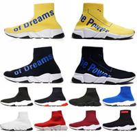 siyah güç modası toptan satış-Balenciaga Tasarımcı Çorap Siyah Sarı Hayallerin Gücü erkek bayan sneakers moda Ayakkabı siyah beyaz kırmızı pembe Düz erkek Eğitmenler Koşucu Rahat Ayakkabı