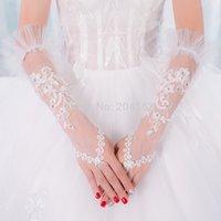 fingerlose spitze tulle braut handschuhe großhandel-Atemberaubende Hochzeitsfeier fingerlose Handschuhe Tüll Spitze Braut
