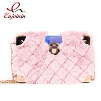 New Faux Fur Metal Corner Luxury Fashion Box Design Women Clutch Bag Mini Chain  Purse Crossbody Bag Handbag Flap Shoulder 8b1b0e630f434