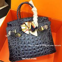 bolsas de couro genuíno venda por atacado-Designer de Luxo Bolsas bolsas femininas de couro genuíno couro Bags rígido Crocodile clássico óssea Casual Ombro Totes Marca Bolsas Lady mão