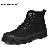 Wholesale black ankle boots for men resale online - Warm Winter Boots Men Genuine Leather Ankle Boots Men Black Winter Sneakers Work Shoes Fur Snow for Botas