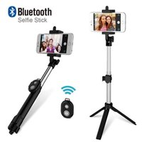 Wholesale xiaomi selfie stick resale online - Phone Tripod Selfie Stick Bluetooth Foldable Selfiestick For iPhone Android For Samsung Xiaomi Huawei Remote Handheld