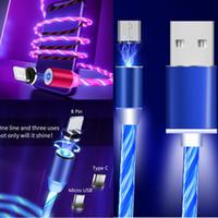 câble de ligne lumineuse achat en gros de-3 en 1 câble de charge 360 lumière LED magnétique éclairage 3FT pour Apple Type-c adaptateur micro USB chargeur IOS visible coulant lueur ligne lumineuse