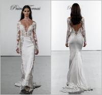 Wholesale pnina tornai lace mermaid wedding dress for sale - Group buy 2019 Pnina Tornai Mermaid Wedding Dresses Deep V Neck Lace Bridal Gowns plus size Long Sleeves Bridal Dress Backless Custom Made