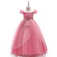 off shoulder yay elbisesi toptan satış-Prenses Kapalı Omuz Kızlar Pageant Elbiseler 2019 Küçük Kızlar Abiye Aplikler İnciler Kat Uzunluk Kabarık Çiçek Kız Elbise Ile Yay