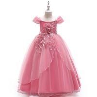 стильные платья для 11-летних девушек оптовых-Принцесса с плеча девушки Pageant платья 2020 Маленькие девочки бальные платья Аппликация Pearls Длина пола Puffy Цветочница платье с бантом