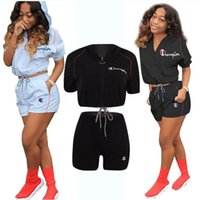 Wholesale short sleeve tracksuit top for sale - Group buy Champions Summer Shorts Suit Women Tracksuit Hooded Short Sleeve t shirt Crop Top shorts Piece Sportswear Fashipn Sports Suit A32002