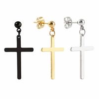 Wholesale rock punk earring resale online - New Arrival Stainless Steel Punk Style Gothic Cross Dangle Stud Earrings Unisex Rock Ear Piercing Jewelry Earrings