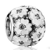 encanto de prímula de plata de ley 925 al por mayor-Primrose Charms Beads Authentic 925-Sterling-Silver-Jewelry White Esmalte Flower Bead Fits DIY Marca Pulseras Fabricación de joyas Accesorios