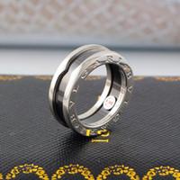 женщина керамическая полоса оптовых-Горячие продажи 316L Titanium стальной браслет кольца с черной керамикой Размер 5-9 # для Женщин и Мужчин ювелирные изделия бренда свадебный подарок прямая поставка PS6486