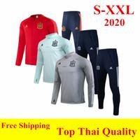 fatos de treino venda por atacado-qualidade Thai 2,020 Espanha treino de futebol 20 21 SILVA camisas fato de treino ISCO MORATA PIQUE RAMOS SAUL zíper completo de futebol vermelho XXL casaco