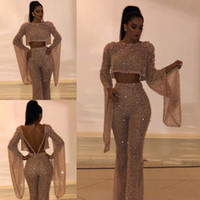 Wholesale piece prom dresses black lace resale online - Sequined Two Pieces Prom Party Dresses Sheath Long Sleeves Plus Size Formal Dress Party Evening Gowns Custom Made Pants Suits