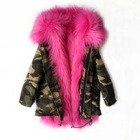 kürk tilki kızı toptan satış-Çocuklar giysi tasarımcısı kızlar Kış Coat Faux Fox Kürk Astar Ayrılabilir Ceketler Çocuk Kabanlar Bebek Kalınlaşmak Çocuklar Için Sıcak Coat Parkas C654