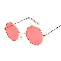 mens óculos de sol amarelo venda por atacado-Simples Oval Octagon amarelo redondo vermelho óculos de sol para as mulheres Espelho Hexagon pequeno Sunglasses Steampunk Vintage Mens Limpar Sun Vidro