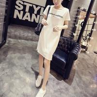 ingrosso mini abito nero coreano-Summer Letter Print Tee Dress Donna Coreano Nero Lungo Top Tees T -shirt Abiti casual Donna Harajuku Plus Size Vestido