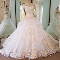 Wholesale off shoulder lace for wedding dress resale online - Multiple Color Flowers Bridal Gown For Garden Wedding Party Off The Shoulder V Neck Short Sleeves Ball Gown Lace Wedding Dress With Train