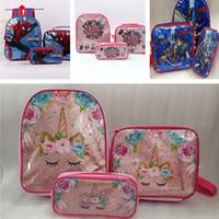 Wholesale purse case sets online – custom Kids Designer Shoulder Bag Brand Backpacks Unicorn Cartoon Animation Lunch Totes Stationery Case Pencil Bags Coin Wallet Purses Set B71004