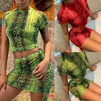 cocktail das senhoras venda por atacado-Moda Feminina Ladies Snake Sexy Vestido De Duas Peças Tops Saia Set Cocktail Clubwear