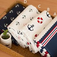 telas de zakka al por mayor-160 cm * 50 cm ropa de cama de tela de algodón edredón hecho a mano tela de algodón zakka tejido patchwork marino para coser ropa de cama cortinas