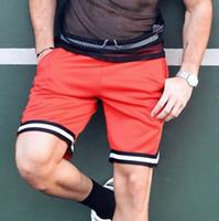 sport beachwear shorts großhandel-Männer Sommer Casual Streifen Shorts Gym Sport Jogging Strand Schwimmen Surfen Beachwear Schwarz Rot Shorts M-3XL