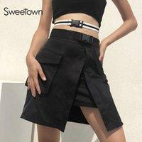 siyah plastik kayış toptan satış-Sweetown Sonbahar Yaz Kore Moda Etekler Ile Plastik Toka Kemer Bayan Streetwear Siyah Katı Yüksek Bel Etek Harajuku MX190731