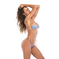 traje abierto femenino al por mayor-Diseñador de las mujeres 2 unids Bikini Verano Sexy Polka Dot Señora Traje de Baño Traje de Baño de Playa Femenina de Espalda Abierta Ropa