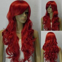 ingrosso anime cosplay lunghi capelli rossi-WIG LL Long Big Waves Wavy Bright Red Ramp Bangs Capelli Cosplay Costume Anime parrucca piena