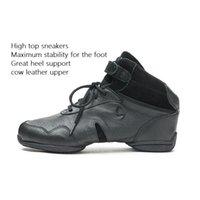 sapatas superiores de couro preto tênis venda por atacado-Sapatos de Dança moderna Preto couro de vaca Superior Sports Jazz Sapatos de Dança Hip-pop Sansha High top sneakers