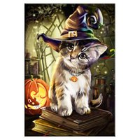 Wholesale wall scenery posters resale online - Diamond painting Cat Scenery Round Diamond embroidery Cross stitch Diamond Wall Painting love gift