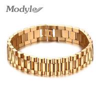 pulseiras pesadas venda por atacado-Modyle Homens Pulseira de Ouro-cor 22 cm Chunky Cadeia Pulseiras Pulseiras de Aço Inoxidável Presente da Jóia Masculina C19041703