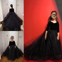 küçük kız siyah prenses elbiseleri toptan satış-Siyah Prenses Düğün Çiçek Kız Elbise Kabarık Tutu Yarım Kollu Balo Bebek Küçük Kız Pageant Komünyonu Elbise
