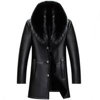 abrigo de invierno casual de negocios para hombre al por mayor-2018 invierno NUEVOS hombres chaqueta de cuero genuino para hombre de piel de oveja abrigo masculino delgado Business Casual chaqueta larga M-4XL