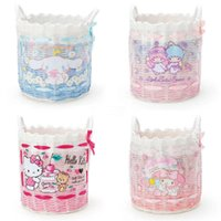 ko groihandel-New Fashion Little Twin Stars Cinnamoroll Girls Kids Big Weave Storage Cosmetic Bags Cases For Children Gifts