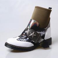 ingrosso cavaliere britannica donna-moda stoffa patchwork stivaletti per le donne stivali calzino fibbia cinturino piattaforma di gomma piatta cavaliere stivali mujer scarpe stile britannico