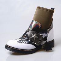 bottes chevaliers britanniques achat en gros de-mode stretch tissu patchwork bottines pour les femmes chaussette bottes boucle sangle plate-forme caoutchouc plat bottes de chevalier mujer britannique chaussures de style