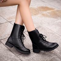 vestido de vaquero para las mujeres al por mayor-Botas de combate del tobillo de las mujeres de los botines militares zapatos de vestir de arranque de vaquero Vaquero manera del cordón